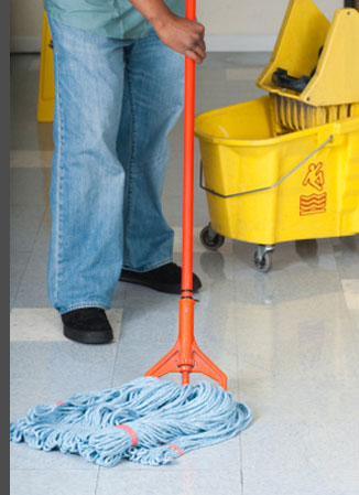 Cleaner mopping floor area